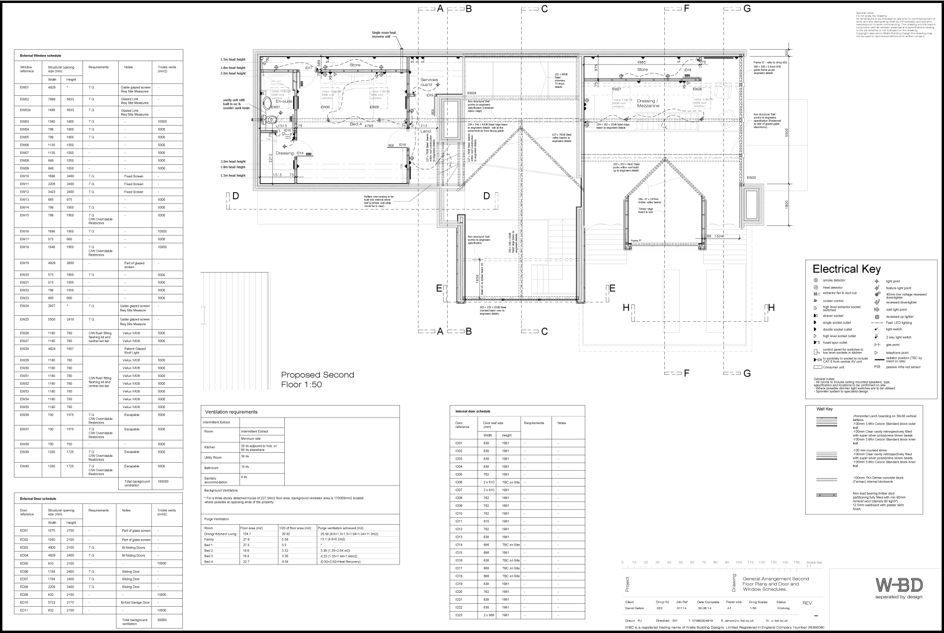 203 GA Second Floor plans and door and window schedules