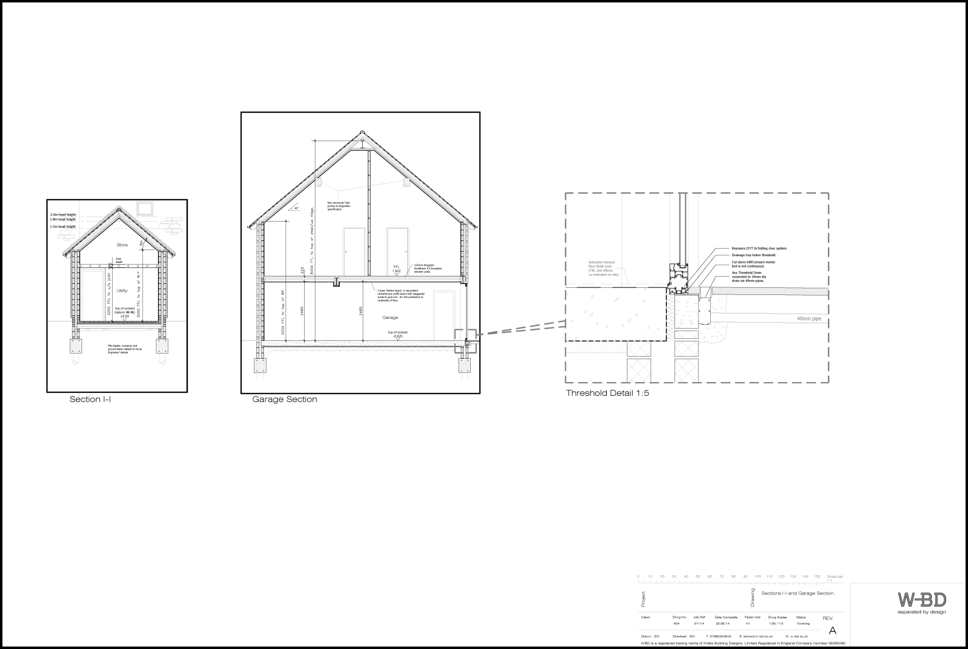 404 Section II and Garage architects drawing